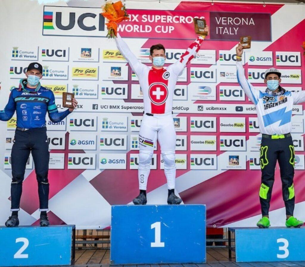 El podio de la primera ronda de la Copa del Mundo de BMX